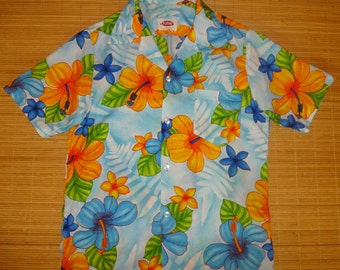Men's Vintage 70s Pomare Hibiscus Floral Hawaiian Aloha Shirt - S - The Hana Shirt Co