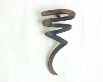 Mexican Modern Brooch Pendant Twisted Spiral Squiggle Sterling Silver Vintage Pin Taxco Mexico Abstract Jewelry