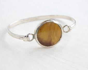 SALE Mexican Bracelet Modern Faux Tigers Eye Hook Eye Bangle Size 7 Vintage Round Gold Statement Jewelry