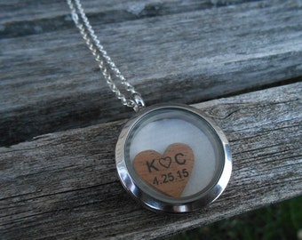 Wedding Dress Locket Necklace. Bridesmaid Gift, Mom Gift. Memory Locket. 5th Anniversary Gift, Wood.