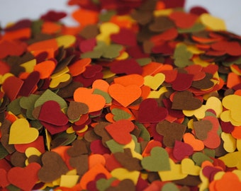 Fall Mix, Over 2000 Mini Confetti Hearts. Weddings, Showers, Decorations. Any COLOR Available.