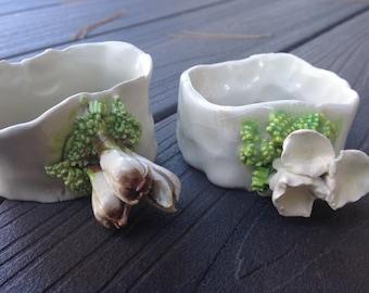 Collectable Maria Maravigna Vintage Handmade Ceramic MUSHROOM Napkin Rings - RARE and MAGICAL - Figural Mushrooms / Functional Art