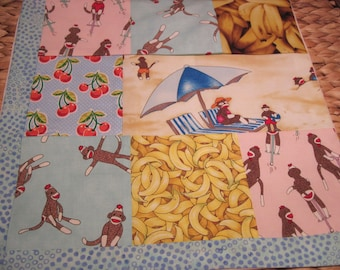 "14"" x 14"" PILLOW COVER - 8 Happiness Squares  Sock Monkeys Vacation at the Beach with Fruit Picnic"