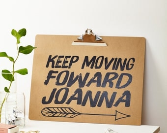 Personalised 'Keep Moving Forward' A3 Clipboard