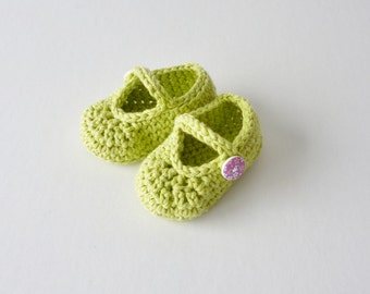 Baby shoes - age 6 - 9 months -  cotton sandals - pistachio - lime green - soft recycled cotton - purple button fastening