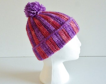 Pom pom hat - teen to adult - wear slouchy or with turned up brim - luxurious blend of merino wool, silk, kid mohair  - purple pink fuschia