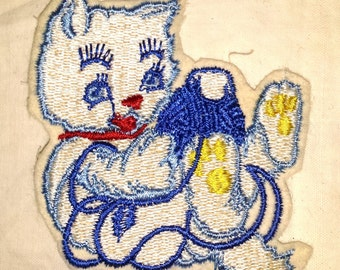 Vintage Jacket Patch Cat Playing with yarn