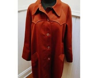 Vintage 1970s Ladies' Western Style Cognac Jacket/Coat- L