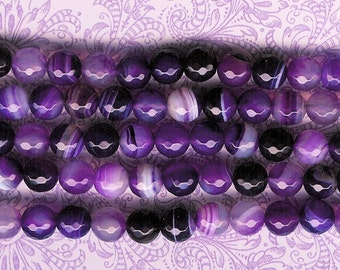 8mm Faceted Sardonyx, 7.5 inch Strand, Dyed Purple, 8mm Violet Stone, Purple Sardonyx, 8mm Faceted Stone, Julie's Bead Store, Purple