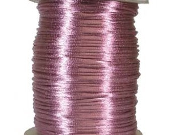 3mm Mauve Silk Cord, 3mm Country Rose Rattail, Kumihimo Cord, 6 Yards, Silk Cord, Chinese Knotting Cord, 3mm Pink Cord, Julie's Bead Store