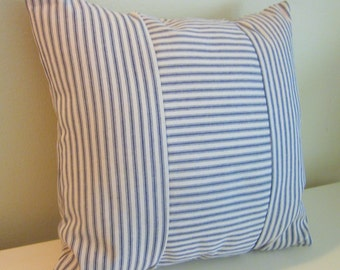 """Blue Ticking Pillow Cover, Decorative Pillow,  20"""" and 18"""",  Dark Blue and Off-White"""