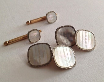 Swank Four (4) piece Gold Plate / Mother of Pearl MOP Double Panel Cufflinks and Shirt Studs