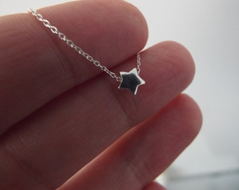 SALE- Tiny Sterling Silver Star Necklace- Silver Star Jewelry- Dainty 925- Space Themed- Delicate minimalist Solid Silver Star gift