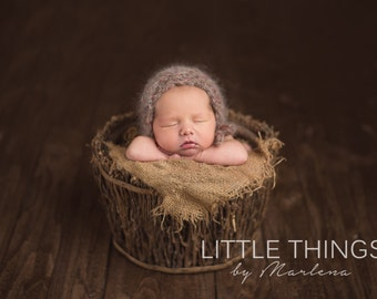new born knitted mohair bonnet,wool and mohair bonnet