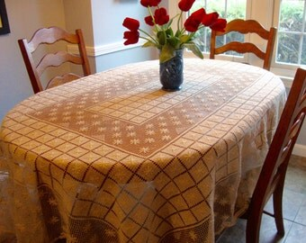 French Lace Tablecloth Antique Hand Knotted Table Cloth European Lace
