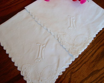 White Cocktail Napkins Set of Two Vintage Luncheon Napkins Embroidered Monogram Initial