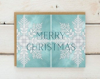 Christmas Card Set, Illustrated Holiday Cards, Watercolor Holiday Card Set, Watercolor Christmas Cards, Snowflake Holiday Cards