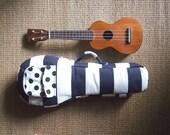 Soprano ukulele case -Happy Navy Blue - Navy blue and white stripe Ukulele Case. (Ready to ship)