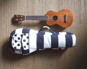 Soprano ukulele case -Happy Navy Blue - Navy blue and white stripe Ukulele Case. (Made to order)