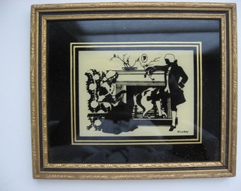 """VALENTINE SALE Vintage Reverse Painting Silhouette Glass Picture by Reliance//Titled """"Colonial Fireside""""//Valentine Gift"""