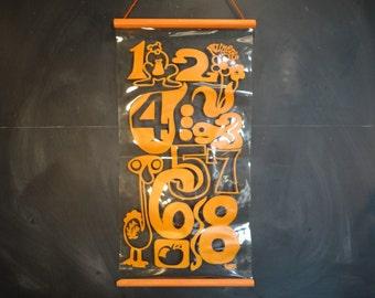 Vintage Numbers Animals Wall Hanging Orange-Nursery Childs Room