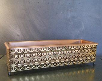 Vintage Pierced Brass Metal Mesh Planter with Liner-Mid Century-Atomic