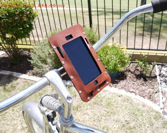 SALE bike gift iPhone holder- Bicycle iPhone 7/6S/6/SE Plus Holder in Brown Leather. bike accessories beach cruiser, personalized bike mount