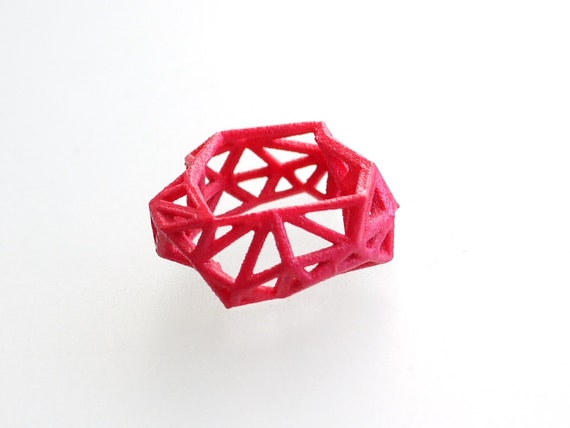 3d printed geometric ring - Triangulated Ring in Pink. statement jewelry. neon fashion, gifts for her
