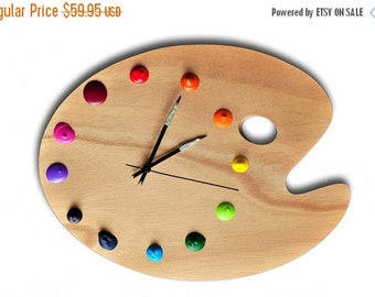 WINTER SALE The Original Artist Palette Wall Clock! With Real Paint Globs for the Numbers - Unique Art Studio Decor, Artist Gift