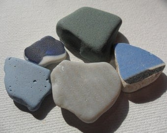 Grey, teal and blue milk sea glass & sea pottery - Pretty English beach find pieces