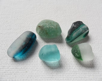 Turquoise, blue & green sea glass multis - Lovely English beach find pieces
