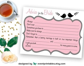 Bridal Shower Mad Libs, Advice for the Bride Mad Lib Cards, Printable Bridal Shower Game, Pink Lovebirds, Digital File by Event Printables