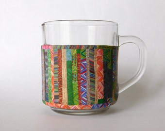 Coffee Mug, Tea Cup, polymer clay decorated glass mug
