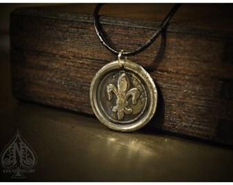 Silver Fleur de Lys Wax Seal Pendant