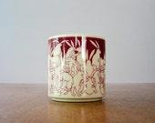 Vintage Taylor & Ng Naughty Rabbits Mug - Plum / Red