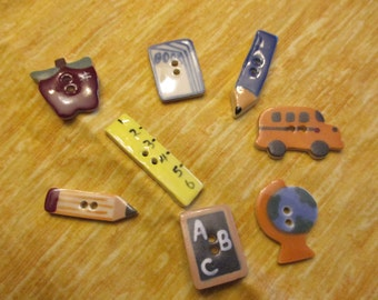 set of 8 ceramic school buttons globe apple school bus and more