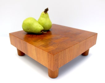 Digsmed Teak Cheese Board - End Grain Teak Cutting Board - Danmark Denmark - Mid Century Modern - Rare Footed Serving Piece