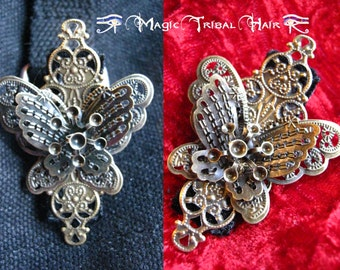 Steampunk Butterfly Fascinator 2 x antique brass STEAMPUNK HAIR JEWELRY Tribal Fusion Belly Dance costume accessory Boho vintage bag clip