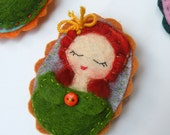 Woman with Yellow Bow Green Coat, Felt Brooch, Fabric Brooch, Embroidered Felt Brooch