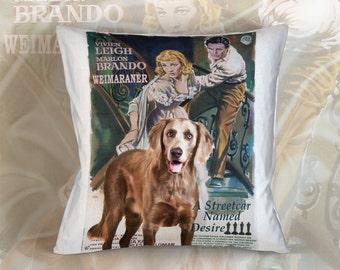 Weimaraner Long Haired Art Pillow Case Throw Pillow - A Streetcar Named Desire Movie Poster
