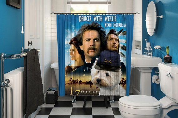West Highland White Terrier Art Shower Curtain, Dog Shower Curtains, Bathroom Decor - Dances with Wolves Movie Poster by Nobility Dogs