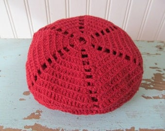 Vintage Crochet Reusable Shopping Bag, Folding Pouch, Red Round Bag