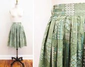 Vintage 1950s Skirt | Blue and Green Tiki Print 1950s Full Skirt | size xs - small