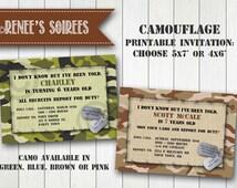 CAMO INVITATION for Birthday, Baby Announcement, Retirement, Deployment etc.  - Printable Invite - Military - Boys or Girls