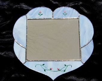 Heart mirror stained glass,light blue with red rosebuds
