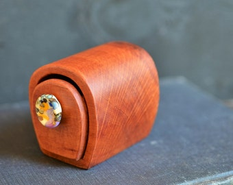 Little Australian Sheoak box with handmade sculptured glass drawer knob