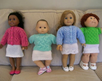 28) Knit Cable Sweaters Crew Neck or Cardigan ANY 15 or 18 Inch Dolls American Girl Cabbage Patch Bitty Baby Preemie