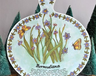 SALE 40% OFF! Pat Albeck Style - Bermudiana Iris Flower - Trivet / Cutting / Serving Wall Hanging