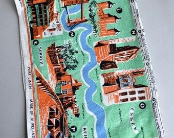 Irish Linen Tea Towel - Map of Thames Valley