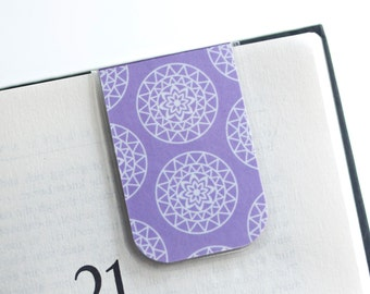 Mandala Magnetic Bookmark Laminated Purple Lavender White Mandalas Floral Abstract Teacher Teaching Mom Gift Mother's Day Student College
